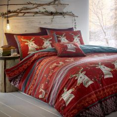 Folklore Stags Flannelette Duvet Cover Set - Red