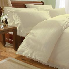 Balmoral Embroidered Pillowcases - Ecru Beige