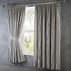 Oak Tree Jacquard Tape Top Curtains - Stone