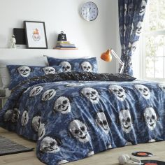 Pixel Skulls Tape Top Curtains - Multi