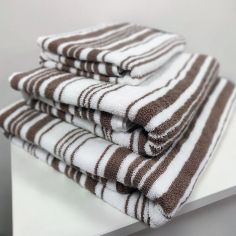 Regency Striped 100% Cotton Towel - Natural