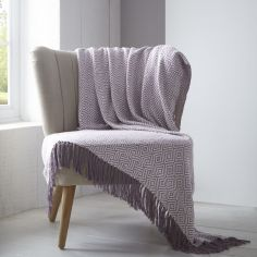 Ascot 100% Cotton Throw with Fringe - Heather