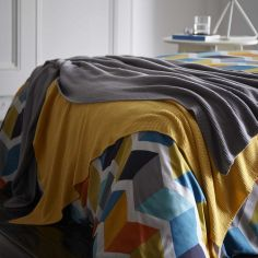 Maine 100% Cotton Knitted Throw - Ochre Yellow
