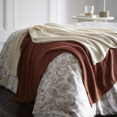 Maine 100% Cotton Knitted Throw - Oyster