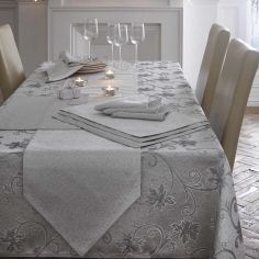 Ravina Floral Table Runner - Silver Grey