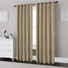 Plain Chenille Fully Lined Eyelet Curtains - Natural