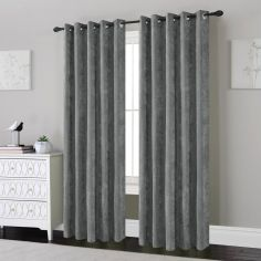 Plain Chenille Fully Lined Eyelet Curtains - Silver Grey