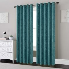 Plain Chenille Fully Lined Eyelet Curtains - Teal Blue