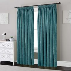 Plain Chenille Fully Lined Tape Top Curtains - Teal Blue