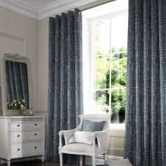 Vera Navy Blue Line Made to Measure Curtains