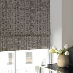 Teagan Smoke Black Grey Line Roman Blind