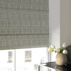 Teagan Sage Green Yellow Line Roman Blind