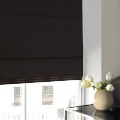 Melanie Ebony Black Grey Roman Blind