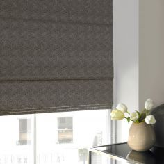 Melanie Flint Black Grey Roman Blind