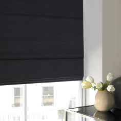 Hadley Black Grey Roman Blind