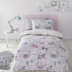 Catherine Lansfield Kids Unicorn Dreams Glow in the Dark Duvet Cover Set - Pink