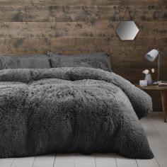Catherine Lansfield Cuddly Fluffy Duvet Cover Set - Charcoal Grey