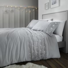 Catherine Lansfield Christmas Snowflake Duvet Cover Set - Silver Grey