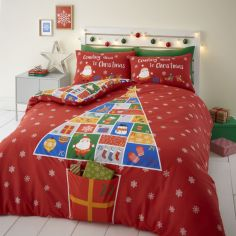 Catherine Lansfield Countdown to Christmas Duvet Cover Set - Red