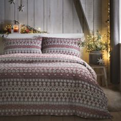 Fairisle Brushed Cotton Christmas Duvet Cover Set - Red Grey