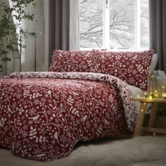 Nordic Brushed Cotton Christmas Duvet Cover Set - Red