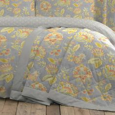 Marinelli Floral Quilted Bedspread - Grey Multi