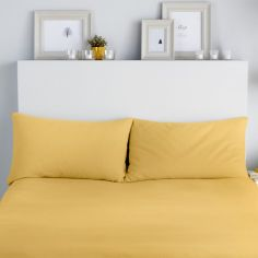 Flannelette 100% Brushed Cotton Pillowcases - Ochre Yellow