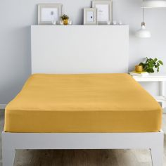 Flannelette 100% Brushed Cotton Fitted Sheet - Ochre Yellow
