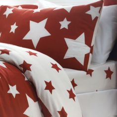Kids Stars Brushed Cotton Fitted Sheet - Red