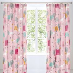 Cosatto Unicorn land Kids Pair of Lined Tape Top Curtains - Pink Grey