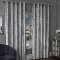 Paris Glitter Crushed Velvet Fully Lined Ring Top Curtains - Silver Grey
