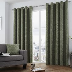 Camberwell Geometric Jacquard Fully Lined Eyelet Curtains  - Khaki Green