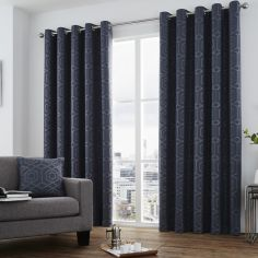 Camberwell Geometric Jacquard Fully Lined Eyelet Curtains  - Navy Blue