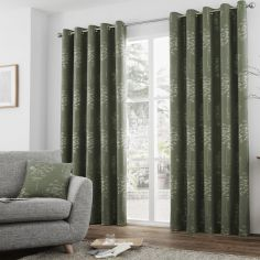 Elmwood Trees Jacquard Fully Lined Eyelet Curtains - Khaki Green