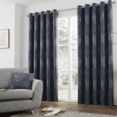 Elmwood Trees Jacquard Fully Lined Eyelet Curtains - Navy Blue
