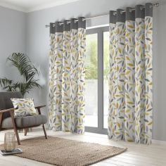 Beechwood Leaf Fully Lined Eyelet Curtains - Ochre Yellow