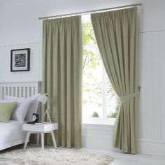 Dijon Thermal Blackout Tape Top Curtains - Green