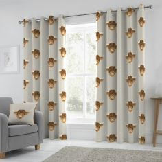 Highland Cow Fully Lined Eyelet Curtains - Natural