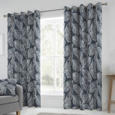 Matteo Botanical Leaf Fully Lined Eyelet Curtains - Navy Blue