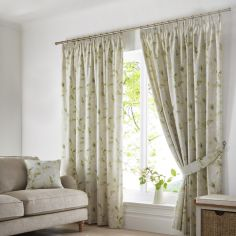 Meadow Leaves Fully Lined Tape Top Curtains - Green