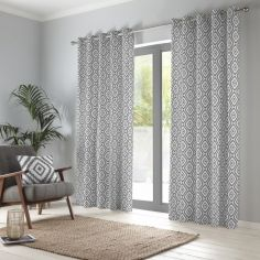 Navaho Aztec Fully Lined Eyelet Curtains - Charcoal Grey