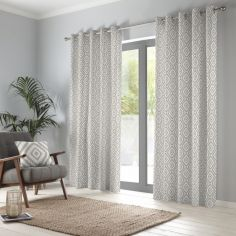 Navaho Aztec Fully Lined Eyelet Curtains - Natural