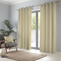 Navaho Aztec Fully Lined Eyelet Curtains - Ochre Yellow