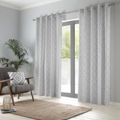 Navaho Aztec Fully Lined Eyelet Curtains - Silver Grey