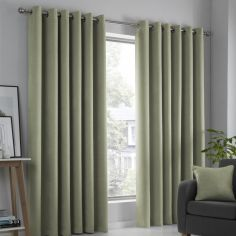 Strata Plain Textured Blockout Eyelet Curtains - Green