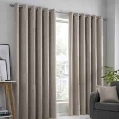 Strata Plain Textured Blockout Eyelet Curtains - Natural