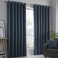 Strata Plain Textured Blockout Eyelet Curtains - Navy Blue