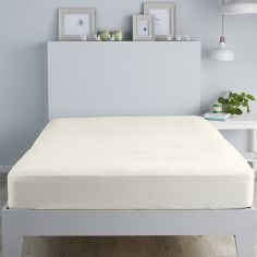 100% Brushed Cotton Fitted Sheet - Cream