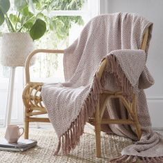 Ascot 100% Cotton Throw With Geometric Pattern - Blush Pink