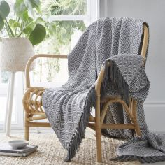 Ascot 100% Cotton Throw With Geometric Pattern - Charcoal Grey